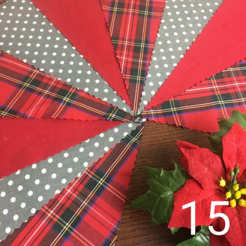 Christmas Handmade Bunting Vintage Decoration 3m Stag Holly Tartan