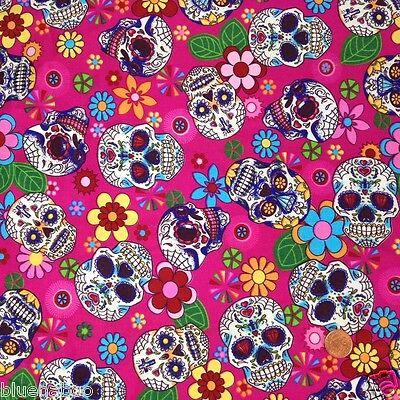 per 1//2 metre//fat quarter 100 /% cotton PInk funky skulls  fabric goth