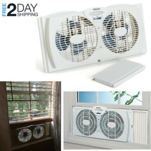 Details about Powerful Window Fan Twin Dual In Portable Exhaust Reversible  Small Large Kitchen