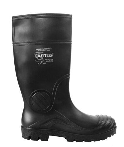 Da Uomo GRAFTERS completa Sicurezza Wellington Impermeabile in acciaio Puntale Work Boots Stivali di gomma