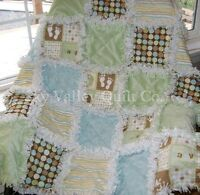 Pre Cut Rag Quilt Kit Oh Boy In Blue Green And Brown