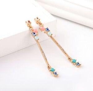 Statement gold pearl /& green acrylic leaf drop cocktail chandelier earrings