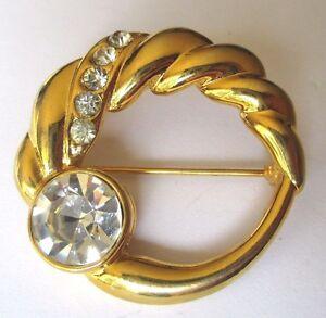 Brillant Broche Bijou Rétro Rosace Couleur Or Ajourée Solitaire Cristaux Diamant 3482 Attrayant Et Durable