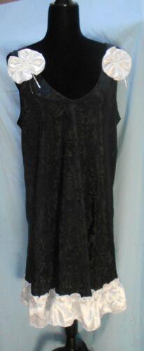 Vintage Sissy Black Rose Print Long Dress 2 Large