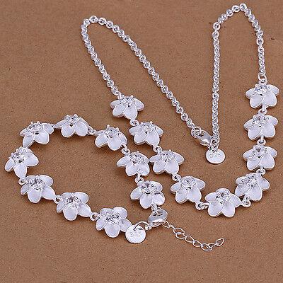 Nice! Sterling Solid Silver Flowers Bracelet&Necklace Set DAS117 + box