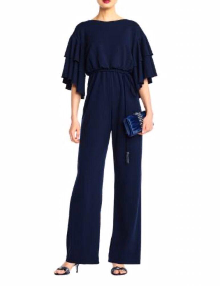 Adrianna Papell Long Crêpe Bleu Nuit Combinaison Femmes Taille Uk 16