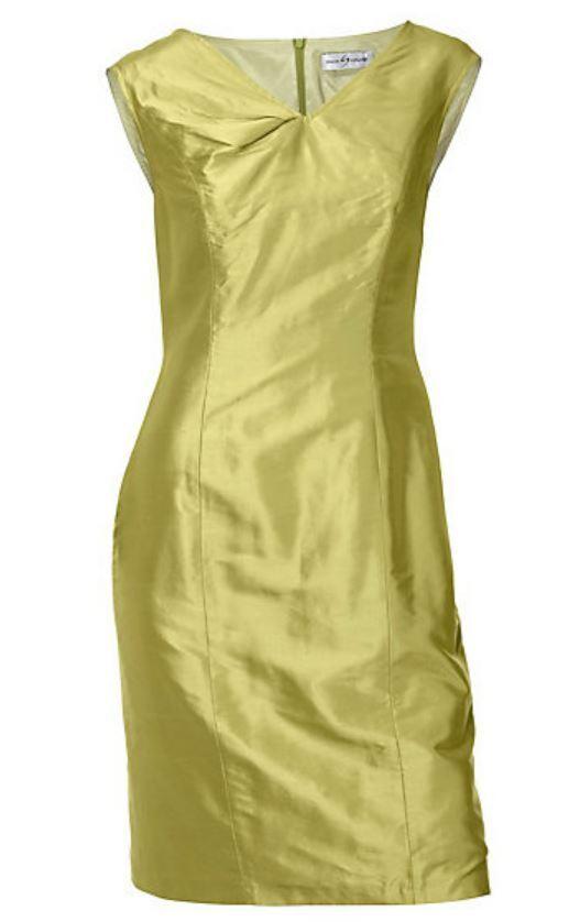 Seidenkleid grün gelb 36 SINGH S.MADAN Heine Seide Kleid elegant NP