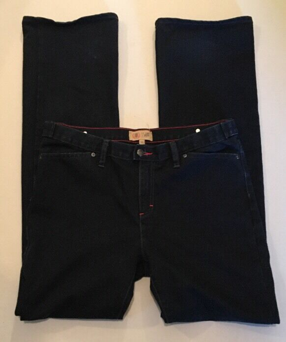 Womens Sz 14 US Army 1st Infantry Division bluee Jeans Dark Denim Flare Leg
