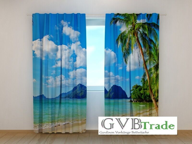 Fotogardinen  Strand am Meer  Fotovorhang Vorhang Vorhang Vorhang Gardinen 3D Qualität, Auf Maß | Attraktives Aussehen  abbb05