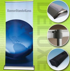 Details about 33x79 DELUXE Retractable Banner Stand Roll Up Trade Show  Display Free Printing