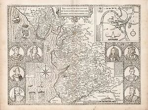 Old Vintage Lancaster England decorative map Speed ca 1676 paper or canvas