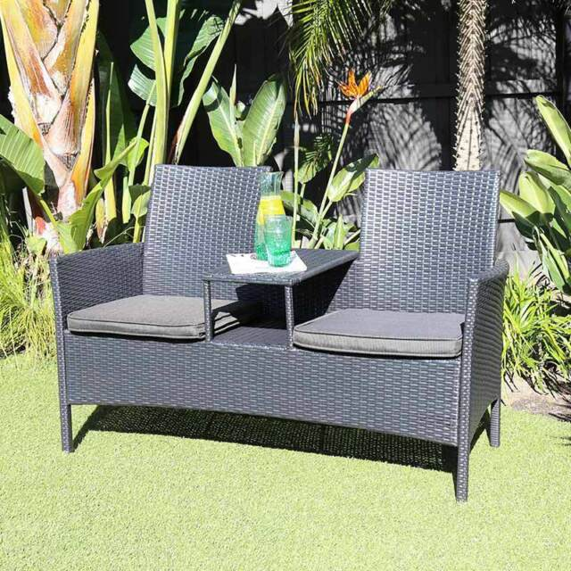 Excalibur Outdoor Living Excalibur Jack U0026 Jill 2 Seat Bench (Black) HX73003