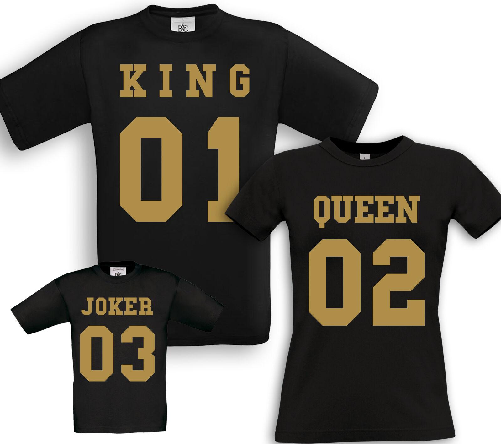 KING + QUEEN + JOKER - Familien Partner Shirts - Fun Geburtstag Geschenk Taufe