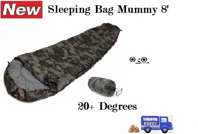 NEW SLEEPING BAG MUMMY 8' FOOT CAMOUFLAGE 20+ DEGREES ARMY CAMMO CAMPING
