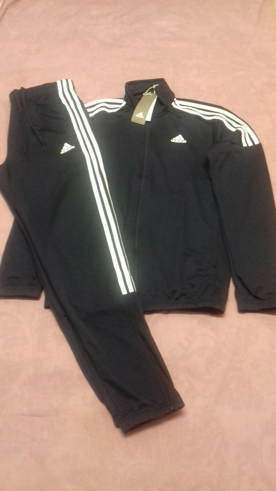 Adidas Men's/Boys Tracksuit Zip Up Top/Bottoms Navy, Size XS/15-16 Years - BNWT