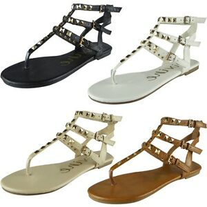1e956dc15 Image is loading Womens-Ladies-Studded-Strappy-Toe-Post-Shoes-Summer-