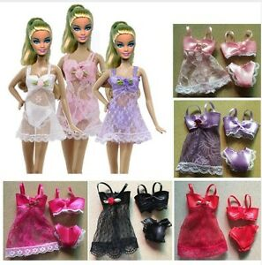 m-BIANCHERIA-INTIMA-3-PEZZI-BARBIE-BABY-DOLL-NIGHT-DRESS-SEXY-CON-MERLETTO-HOT