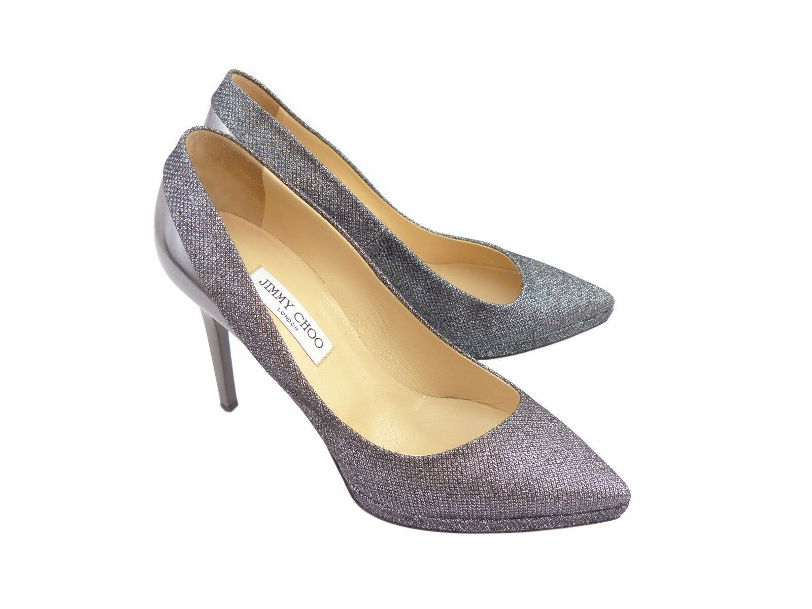 Jimmy Choo Rudy Anthracite Lamé Glitter & Mirror Leather