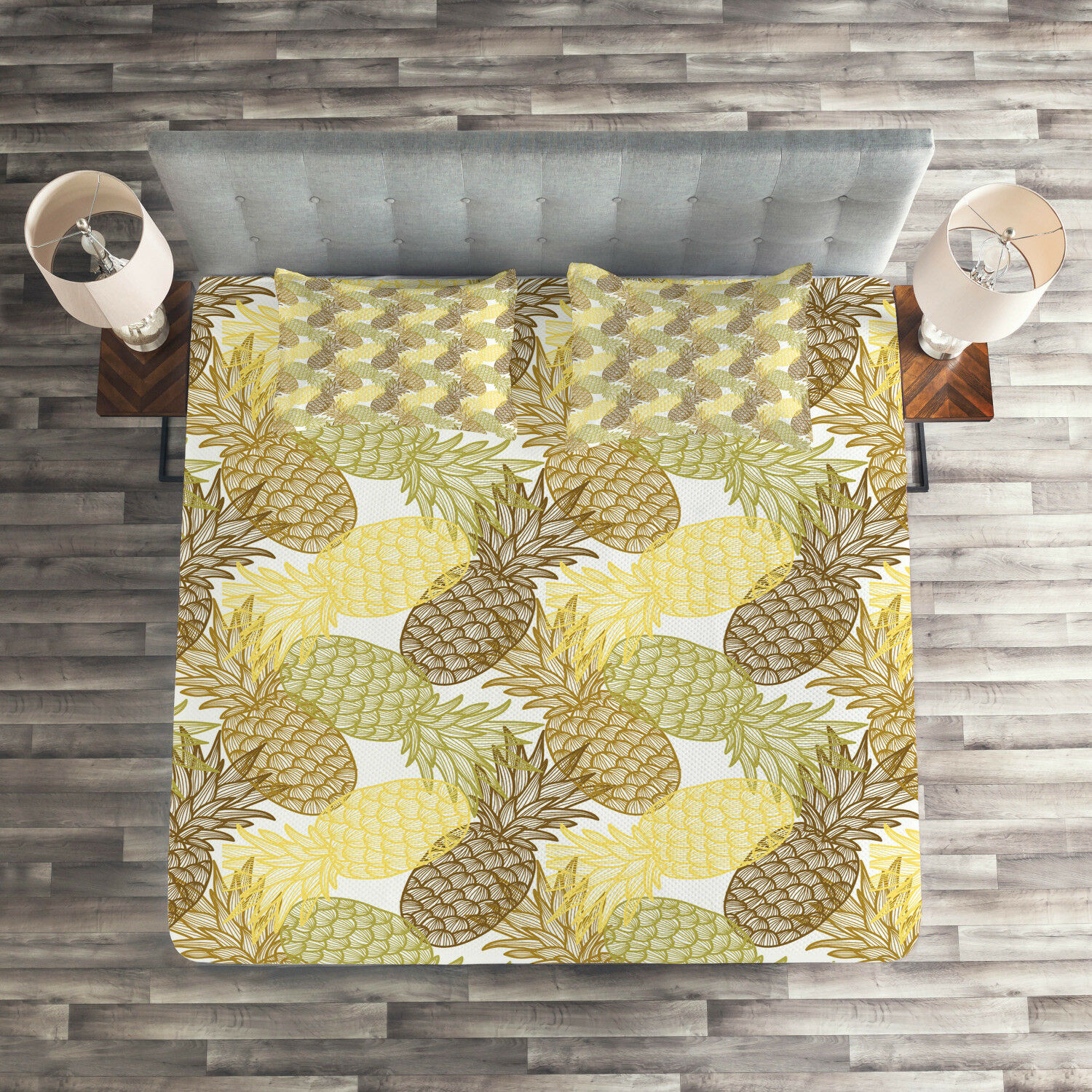 Tropical Quilted Coverlet & Pillow Shams Set, Curving Exotic Tropical Print