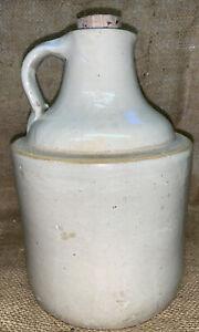 Vtg Antique Stoneware Crock Moonshine Whiskey Jug Handle with corncob stopper