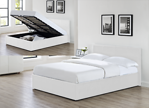 outlet store 0e7d5 01493 Details about 4' Small Double Faux Leather Ottoman Gas Lift Up Deep Storage  Bed 4ft White