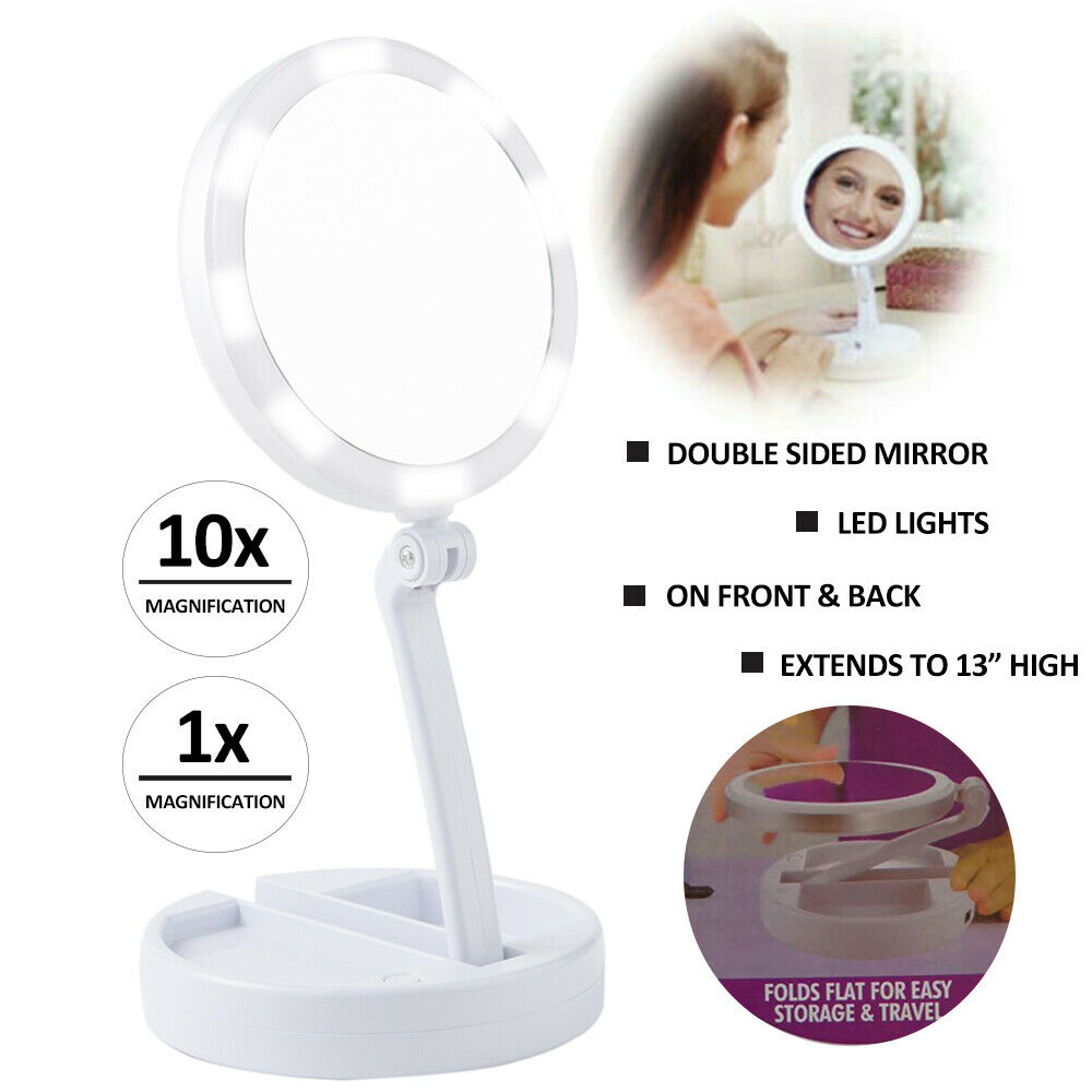 Portable Foldable Makeup Mirror with 22 Chargeable LED Light