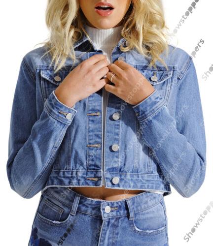 NUOVA Giacca Di Jeans Da Donna Jean Giacche Da Donna Blu a Fiori Taglia 6 8 10 12 14