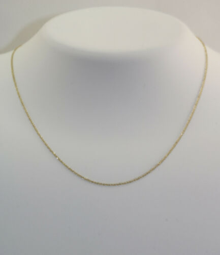 New 14K Yellow Gold .7 mm 18 Inch Ropa Pendant Chain Necklace