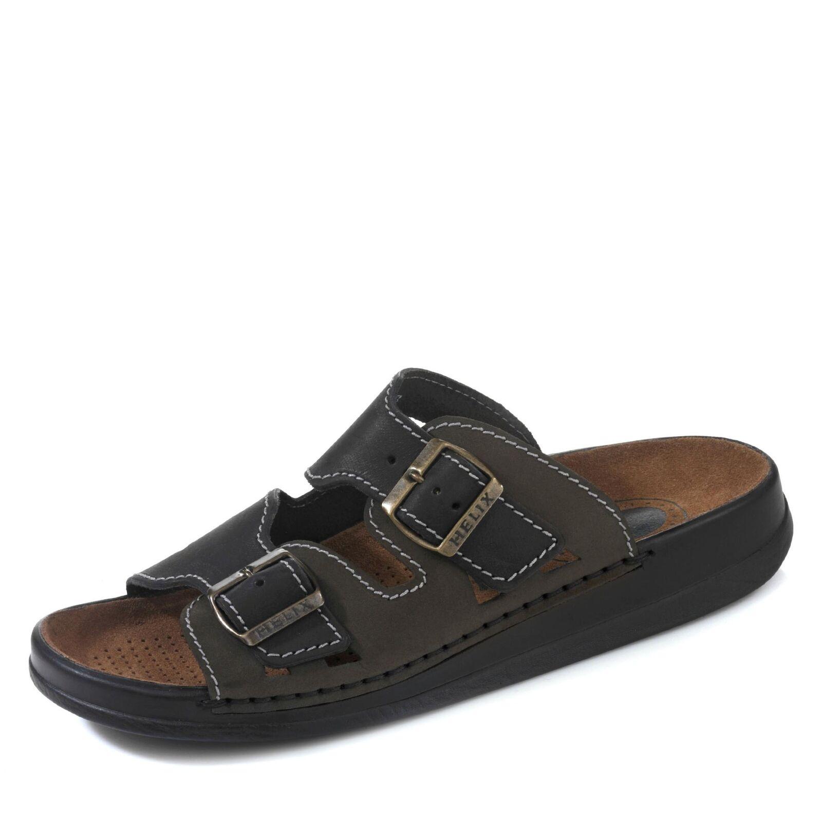 Helix Herren Pantolette Schlupfschuhe Freizeitschuhe Schuhe Nubukleder schwarz