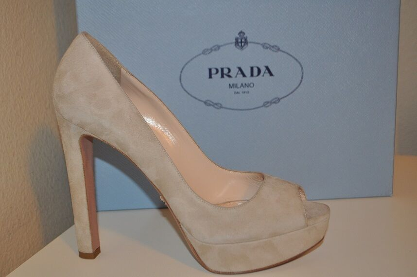 NIB  750+ PRADA Beige Suede Leather Open Toe Platform Pump Heel shoes 39 - 9