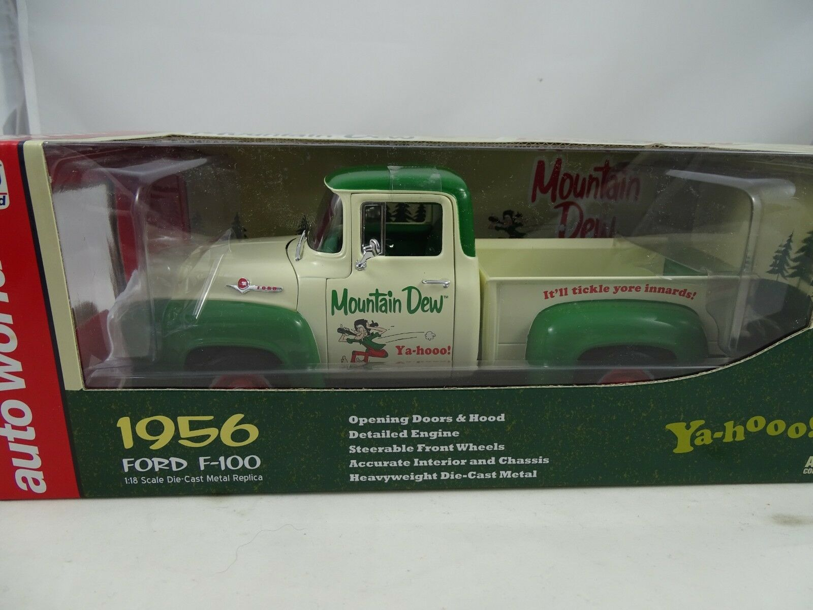 1 18 Ertl Autoworld Aw211 06 Mountain Dew 1956 Ford F-100 Crema   verde