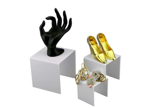 "5/"" 4/"" White Acrylic Display Risers Jewelry Retail Nesting Showcase Stands 3/"""