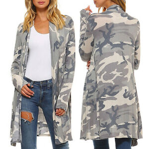 women dame long sleeve wasserfall camouflage cardigan. Black Bedroom Furniture Sets. Home Design Ideas