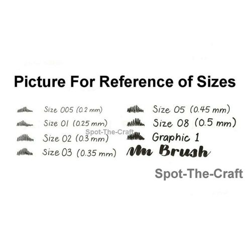 Sakura Pigma Micron Pen Set Black 005 01 02 03 05 08 Brush Graphic 30067