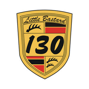 Sticker-plastifie-JAMES-DEAN-Little-Bastard-130-Spyder-550-8cm-x-6-5cm