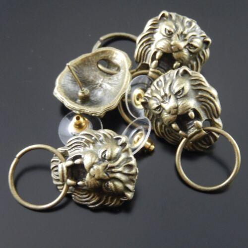 16PCS antique bronze classique lion Forme Alliage Boucles D/'oreilles Bijoux Craft Findings