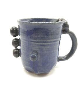 Vintage-Blue-Art-Pottery-Glaze-Mug-Cup-Signed-Artisan-Modern-Unusual-Form-Shape