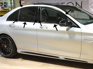 Mercedes-W205-C-Class-Saloon-Sedan-Limo-Window-Trims-Set-Night-Edition-Black