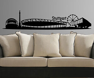 xxl wandtattoo skyline stuttgart fu ballstadion aufkleber stadt sticker 1m083 2 ebay. Black Bedroom Furniture Sets. Home Design Ideas