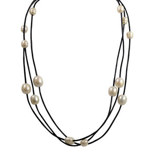 18-inch-Leather-amp-White-Freshwater-Pearls-multi-strand-necklace