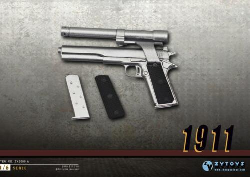1//6 Scale M1911 silver Pistol Gun Rifle Military PHICEN DiD BBI toy ❶US SELLER❶