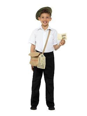 Bambini Ww2 Sfollato Costume Festa Del Libro Istantaneo Kit Cappello Borsa + L'Ultima Moda