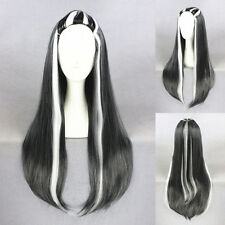 Frankie Stein Hicoser Black White Mixed Wig Cosplay Harajuku Gradient Curls 80cm