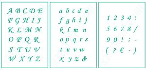 3er Schablonen Set Nr.39 ● 1cm Buchstaben und Zahlen ● Scrapbooking Schablonen