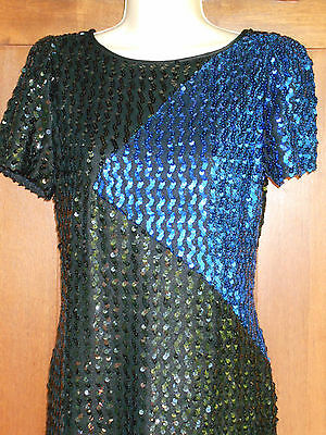 Sequined Norman Berg Evening Cocktail Dress Formal Blk M Womens 9-10 Denise 5g5E