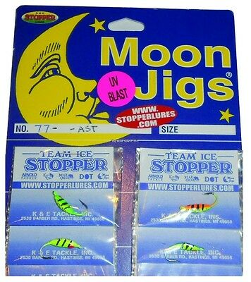 Glitter // Glow in Assorted Colors #68-12-AST K/&E Moon Jigs Card of 24 Size 12