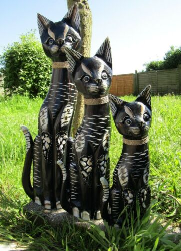 Hand Carved Made Wooden Cat Statues Set Of 3 Sculpture Ornaments Statues