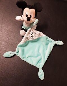 Doudou-Mickey-Disney-Nicotoy-plat-mouchoir-bleu-turquoise-cube-ABCD-rayure-gris