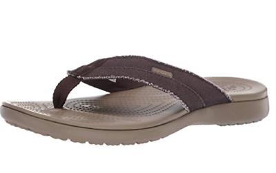 Crocs Para Hombre Santa Cruz Lona Flip Flop Espresso Khaki UK 8 M   eBay