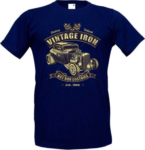 T Shirt im Navyblauton mit einem Hot Rod-,US Car-/& `50 Stylemotiv Modell Vintage